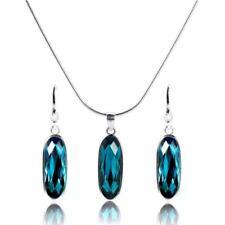 925 Sterling Silver & Blue Crystal Oblong Pendant & Earrings Set 1mm Snake Chain