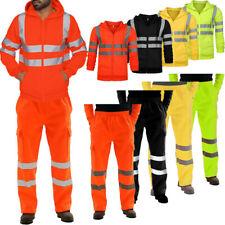 2PCS Men's Hi Vis Visibility Safety Tracksuit Waterproof Reflective Jacket Pants
