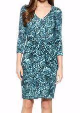Karen Kane Silver Lining Mist Blue Rose Stretch Jersey Tiffany Dress - MSRP $118