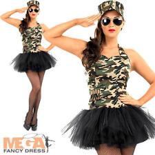 Commando Army Tutu Girl Ladies Fancy Dress Army Military Uniform Womens Costume