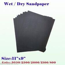 """9"""" x 11"""" Wet Dry Sandpaper Sanding Paper Abrasive 800/1500/2000/2500/3000 Grit"""