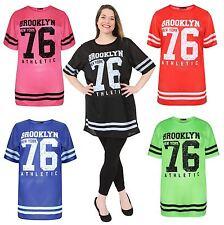 New Womens Fluorescent Air Tech 76 Number Print Baggy Neon T-Shirts 8-26