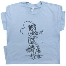 Hula Girl T Shirt Hawaii Vintage Retro Navy Surfing Sailboat Tiki Bar Men Women