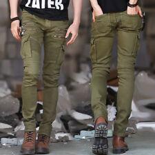 Mens SKinny Pocket Casual Punk Pants Hip Pop Military Cotton Jean Pants Fashion