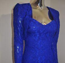 Rare Vintage 80's Sexy Bombshell Wiggle All Lace Royal Blue Dress W/ Shrug Sz 7