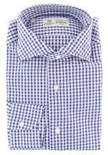 $450 Luigi Borrelli Blue Check Cotton Shirt - Extra Slim - (236)