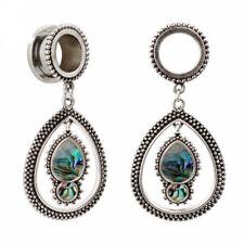 DANGLE OVAL GEM STAINLESS STEEL EAR TUNNELS Piercing Stretcher Jewelery TU156