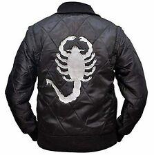 NUOVO Da Uomo Designer Raso Nero Drive Scorpion Ryan Gosling Aderente Giacca Film
