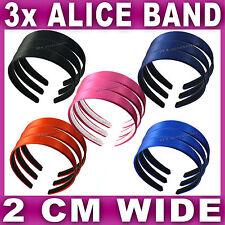 3x Satin ALICE BAND 2cm WIDE headband fabric head hair band aliceband set NEW