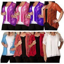 Ladies Plus Size Diamante Floral Lace Knit 3/4 Sleeve Boyfriend Cardigans 14-28