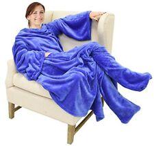 Catalonia Wearable Fleece Blanket with Sleeves Foot Pockets for Adult Women Men