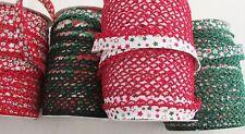 CHRISTMAS/FESTIVE picot lace / crochet edged double fold bias binding per metre