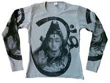 SHIVA Hindu Gott Statue Karma Religion Designer Tattoo Poster Art Long T-SHIRT S
