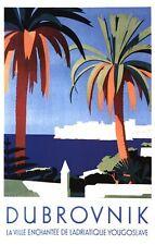 Poster Vintage Dubrovnik, Yugoslavia Turismo A3/A2 impresión