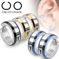 Surgical Steel Bevelled Edge IP Huggie Hoop Fake Non Piercing Clip On Earrings