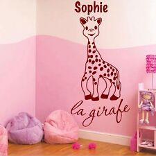 Stickers Muraux Girafe + Prénom Personnalisable - Choix Taille/Couleur