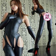 Sexy Lingerie Elastic latex Mistress Costume + Gloves Gothic Fetish Punk Uniform