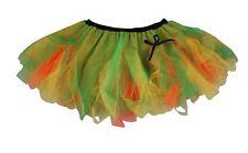 Ladies Orange Yellow & Green Halloween Cyber Tutu Skirt Pumpkin Fancy Dress