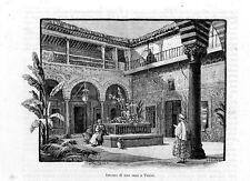 Stampa antica TUNIS Tunisi interno di abitazione Tunisia 1892 Old Print
