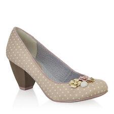NEW Ruby Shoo Carla Cute Low Heel Court Shoes Beige Spotty Buttons UK3-9 EU36-42