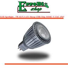 FARETTO LAMPADINA LED GU5.3 COB MR16 7W 3000K CHIP SHARP LAMPADA SPOTLIGHT V-TAC