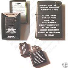 Zippo Creed Black Matte Lighter Model 24710 NEW in BOX