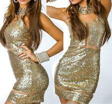 SeXy MiSS Damen Mini Kleid Chiffon Pailletten Party Dress 34 36 38 40 gold