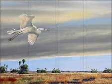 Ceramic Tile Mural Kitchen Backsplash Binks Egret Bird Wildlife Art REB029