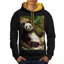 Wellcoda Panda Cute Photo Mens Contrast Hoodie, Animal Casual Jumper
