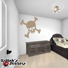 Skull And Crossbones Vinyl Wall Decal - caribbean pirate themed kid's room K014