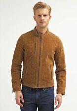 Vintage Arts New Men Best Brown Pure Suede Leather Jacket Biker Motorcycle Racer