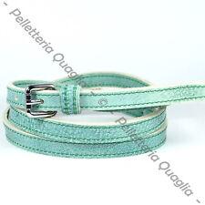 Cintura Pelle Verde Acqua Cuoio Uomo Donna Artigianale Made In Italy 1,5 cm c1