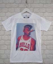 Uptown Classics Michael Jordan Cigar Basketball White Crew Neck Tee T-shirt