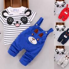 Toddler Kids Baby Boys Tops T-shirt Bib Pants Overalls 2Pcs Outfits Set Clothes