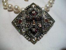 HEIDI DAUS Necklace/Pin/Pendant  NIB Faux Pearl SWAROVSKI CRYSTAL Choker WOW!