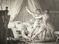 GRAVURE XVIIIe / ASSASSINAT DE SIGEBERT AN 575