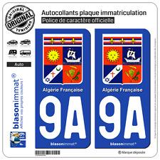 2 Stickers autocollant plaque immatriculation : 9A Algérie Française - Armoiries