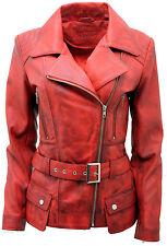 Ladies Red Vintage Long Feminine Leather Biker Jacket