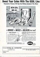 1962 Dealer Print Ad of PW Stankee Co Gehl Mix-All Farm Grinder Mixer