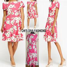 EX DOROTHY PERKINS (K&D LONDON) Pink Floral Skater Dress Sizes 8-20