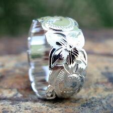 Hawaiian Jewelry Sterling Silver Scrolling Flower Wedding Ring Band 10mm SR1221