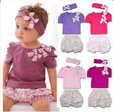 New Baby Girls 3 Piece Set Amissa Clothing  Purple Tee Shirt, Pants & Headband