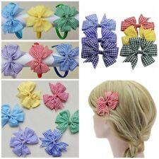 "3"" Gingham Newstyle Pinwheel Bow Hair clips Headbands Bobbles Elastics Aliceband"