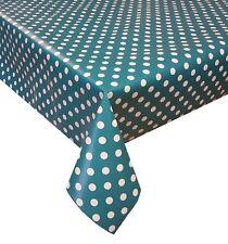 PVC Table Nappe Pois Turquoise À Pois Cercles Bleu Turquoise Vert Essuyer Capable Protecteur