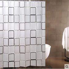 Bathroom Waterproof Fabric Shower Curtain & 12 x white plastic C-type hook