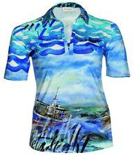 Hawaii Poloshirt Tunika Shirt Chalou große Größen Blau Damen T-Shirt Top kurzarm