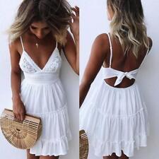 Womens Backless Sleeveless Evening Party Holiday Beach Mini Dress White Sundress