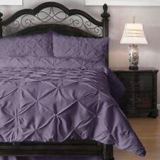 Full Queen Cal King Bed Solid Purple Pintuck Pleat 3 pc Comforter Set Bedding