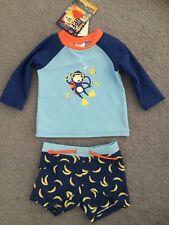 Baby Boys Long Sleeve Rash vest & shorts Set UPF50+ Swimwear Rashie Togs NEW