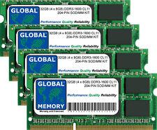 32GB (4 x 8GB) DDR3 1600MHz PC3-12800 204-PIN SoDIMM Memoria RAM Kit per computer portatili